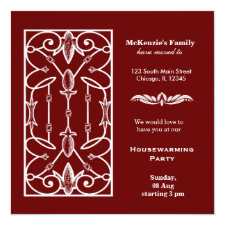 Castle window housewarming party personalized announcement