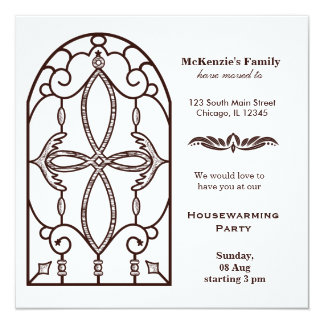 Castle window housewarming party invites