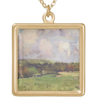 Castlefern, c.1890-95 (oil on canvas) gold plated necklace