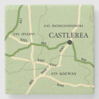 Castlerea County Roscommon Ireland Road Map Stone Beverage Coaster