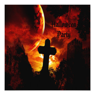 Castles & Vampire Skulls (on back) Halloween Party Card