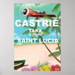 Castrie Saint Lucia vintage travel poster