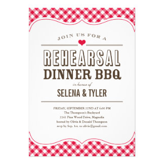Casual BBQ Rehearsal Dinner Invitations