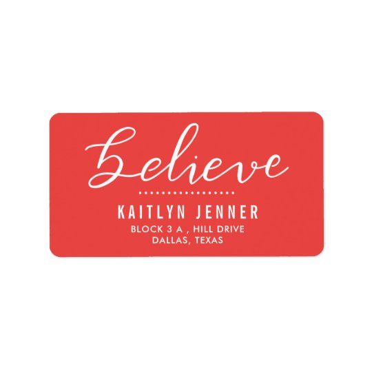 Casual Believe Handwritten Holiday Red Address Label