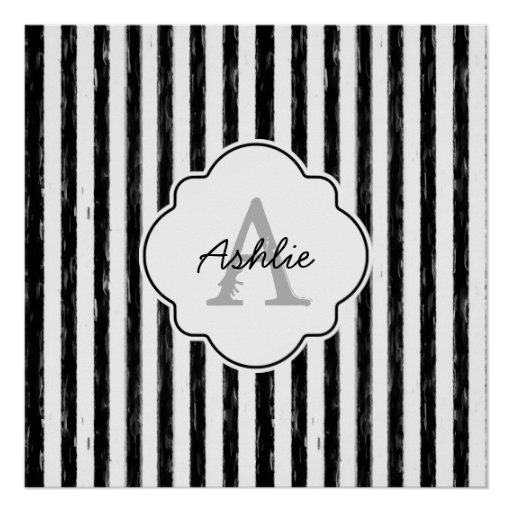Casual Black Painted Stripes Monogram and Name Poster