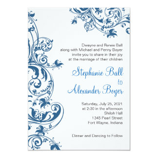 Casual Elegance Blue Swirl Wedding Invitation