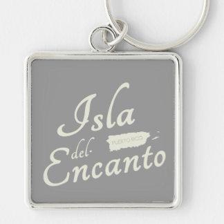 Casual Isla del Encanto, Puerto Rico Silver-Colored Square Key Ring
