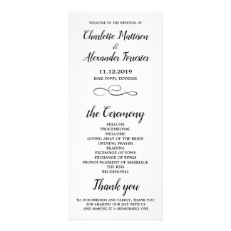 Casual Minimal Black And White Wedding Ceremony Rack Card