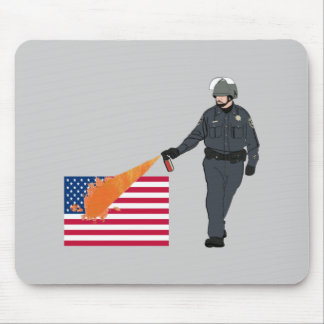 Casual Pepper Spray Cop with Flag in Color Mouse Pad