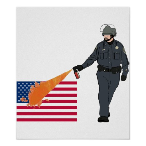 Casual Pepper Spray Cop with Flag in Color Print