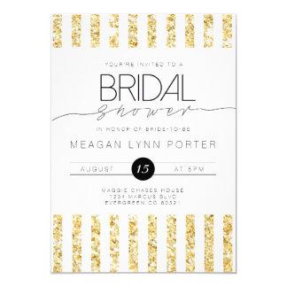 Casual Script | Gold Striped Bridal Shower 13 Cm X 18 Cm Invitation Card