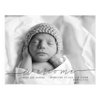 Casual Script | Modern Baby Announcement Photo Postcard