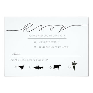 Casual Script | Modern Black & White RSVP 9 Cm X 13 Cm Invitation Card