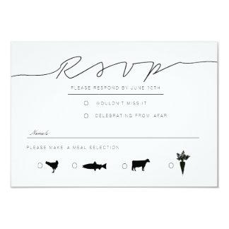 Casual Script | Modern Black & White RSVP 9 Cm X 13 Cm Invitation Card