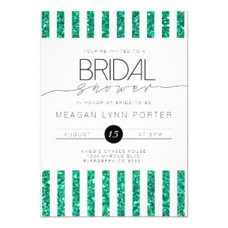 Casual Script | Teal Striped Bridal Shower 13 Cm X 18 Cm Invitation Card
