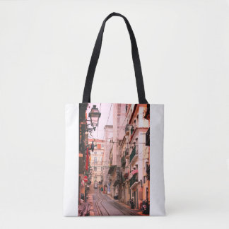 Casual street view in Lisbon Tote Bag