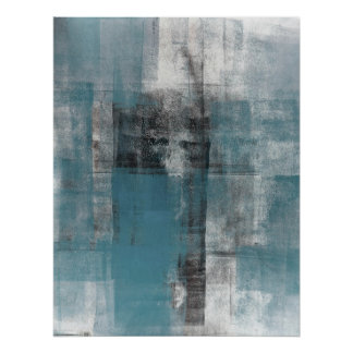 'Casual' Teal and Beige Abstract Art Poster Print
