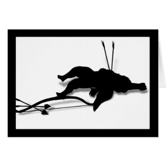 Casualty of Love (Cupid's Down - add  text) Greeting Card
