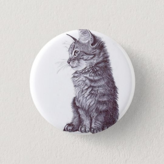 Cat 3 Cm Round Badge