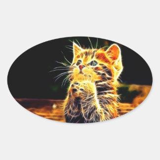 Cat 3d artworks oval sticker