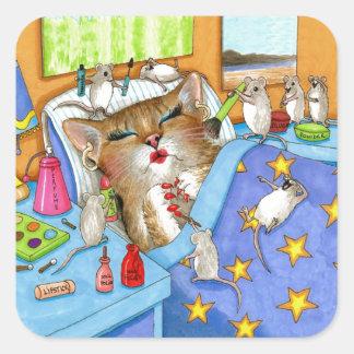 Cat 508 square sticker