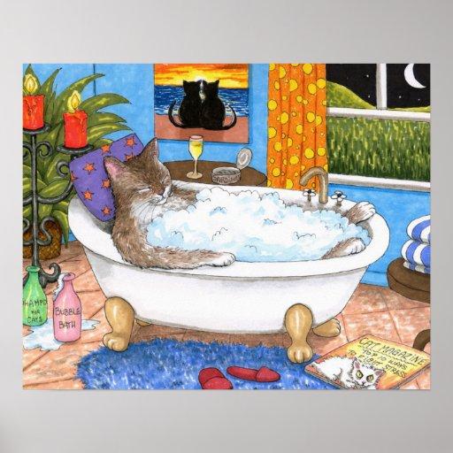 Cat 567 Funny bathroom art Poster
