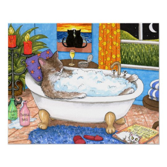 Cat 567 Funny bathroom art Poster