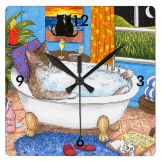 Cat 567 funny cat in bath square wall clock