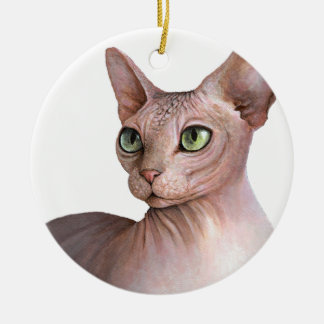 Cat 578 Sphynx white background Christmas Ornament