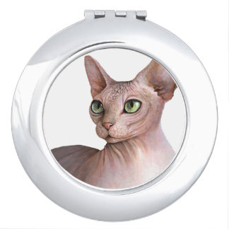 Cat 578 Sphynx white background Makeup Mirrors