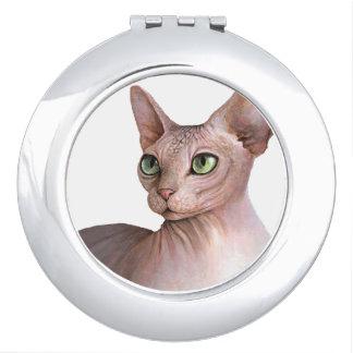 Cat 578 Sphynx white background Travel Mirror