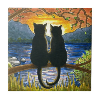 Cat 582 black cats small square tile