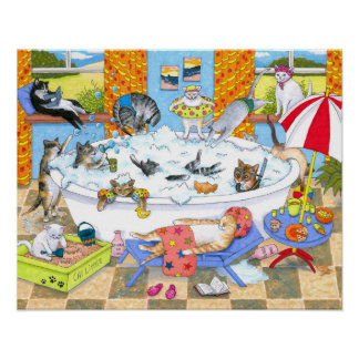 Cat 601 funny cats in bath poster
