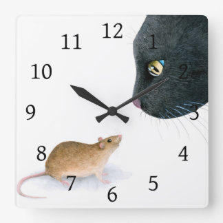 Cat 604 black cat mouse square wall clock