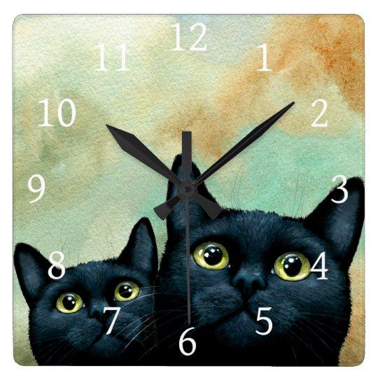 Cat 607 black cats square wall clock