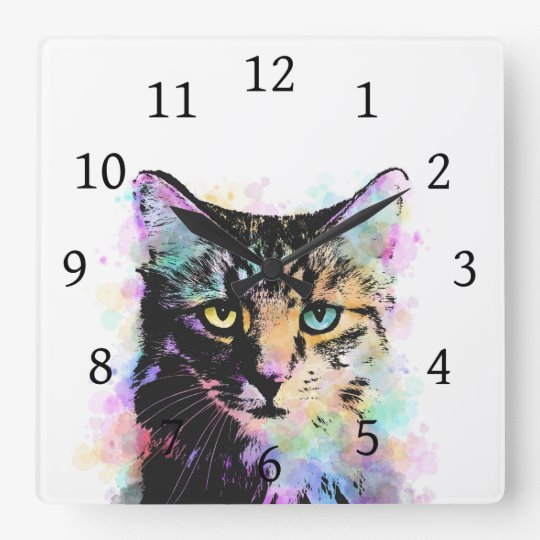 Cat 618 White background Square Wall Clock