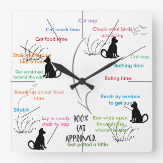 Cat Activity Funny Cats CricketDiane Square Wall Clock