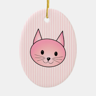 Cat. Adorable pretty pink kitty. Christmas Ornament