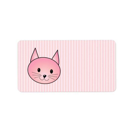 Cat. Adorable pretty pink kitty. Label