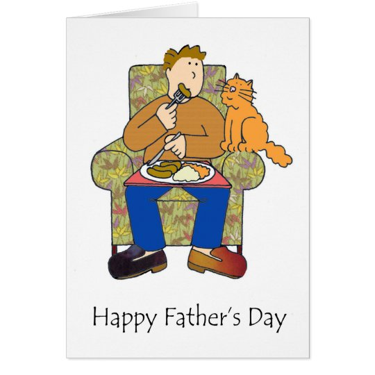 Cat after food, happy father's day. card