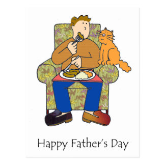 Cat after food, happy father's day. postcard