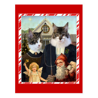 Cat American Gothic Christmas funny postcard