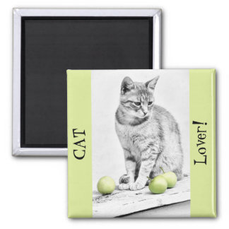 Cat and Apples Square Magnet