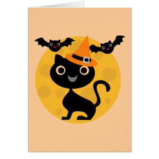 Cat and Bats Halloween T-shirts and Gifts Card
