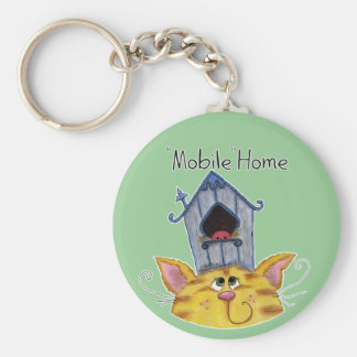 Cat and Bird House Mobile Home Key Ring