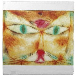 Cat and Bird - Paul Klee Printed Napkin