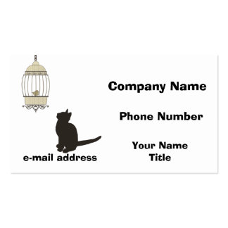 Cat and Birdcage Double-Sided Standard Business Cards (Pack Of 100)