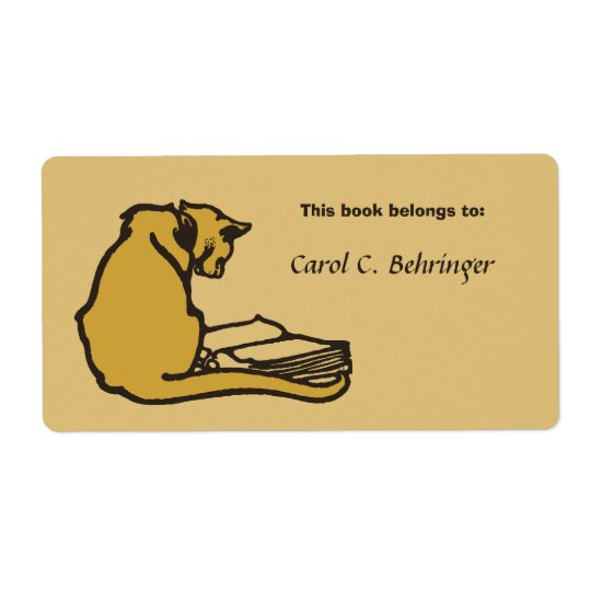 Cat and book, vintage bookplate customisable