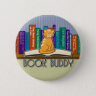 Cat and Books Button or Pin
