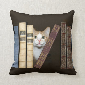 Cat and books throw pillow